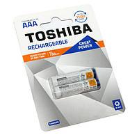 Перезаряжаемая батарейка (аккумулятор) AAA, 750 mAh, Toshiba, 2 шт, 1.2V, Ready To Use, Blister
