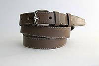 Кожаный женский ремень 25 мм оливковый прошитый пряжка серебрянная овальная