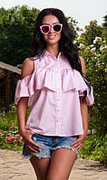 Розовая рубашка с воланами