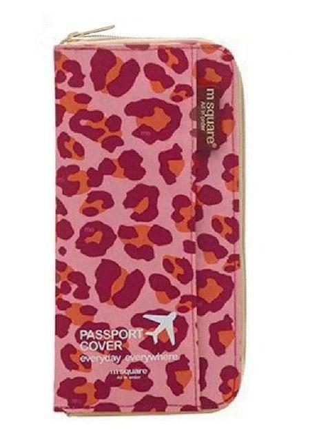 Дорожный органайзер для документов розовый леопард
