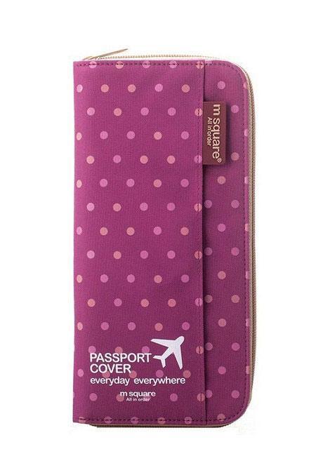 Кардхолдер для путешествий цвет розовый в горошек