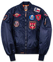 Оригинальный бомбер Top Gun MA-1 Nylon Bomber Jacket with Patches TGJ1540P (Navy), фото 1