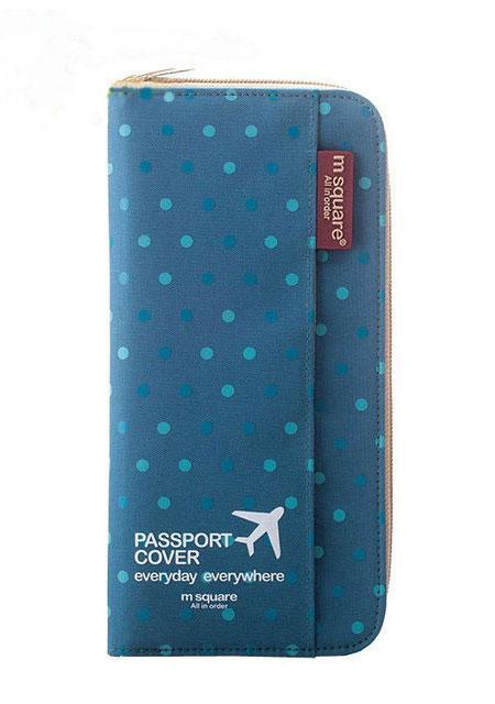 Кардхолдер для путешествий цвет синий в горошек