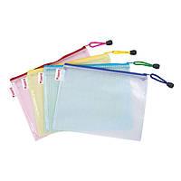 Папка-конверт на молнии В5, прозрачная, ассортимент цветов