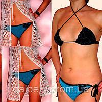 Вязаный крючком раздельный купальни  - бикини с вышивкой бисером ручной работы комбинированной расцветки