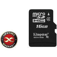 Карта памяти Kingston 16 GB microSDHC class 4 (SDC4/16GBSP)