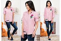 Женская розовая хлопковая рубашка в полоску 12ПКБ-3078
