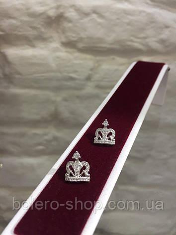 Серьги самоколки корона  женская итальянская бижутерия , фото 2