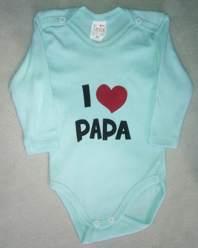 Боди для новорожденных с длинным рукавом 3-18 мес с надписью Я люблю папу-1