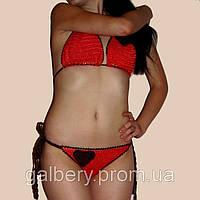 Вязаный купальник-бикини с сердечками ручной работы кораллового цвета