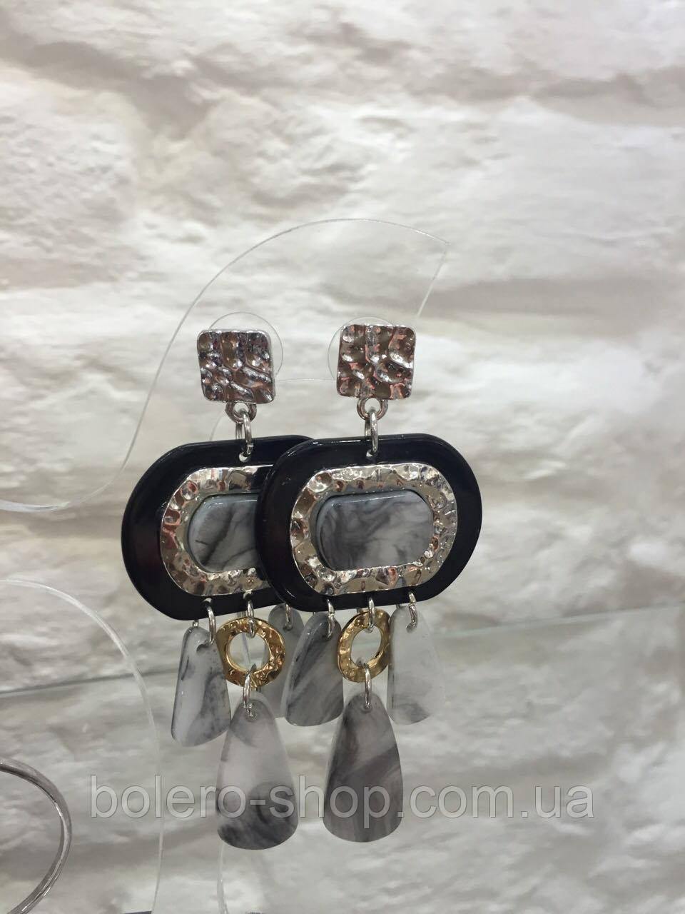 Серьги подвески с серыми камнями   объемные  женская итальянская бижутерия