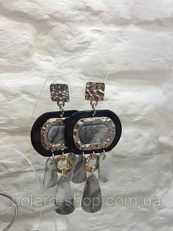 Серьги подвески с серыми камнями   объемные  женская итальянская бижутерия , фото 2