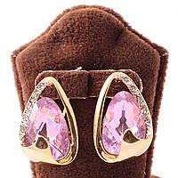 Серьги классические c розовым камнем