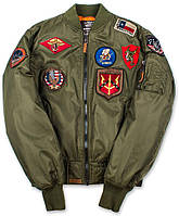 Бомбер Top Gun MA-1 Nylon Bomber Jacket with Patches (оливковый), фото 1