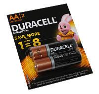 Батарейка AA (LR6), щелочная, Duracell, 2 шт, 1.5V, Blister