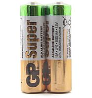 Батарейка AA (LR6), щелочная, GP Super, 2 шт, 1.5V, Shrink (GP15AEBC-2S2)