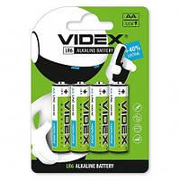 Батарейка AA (LR6), щелочная, Videx Excellent!, 4 шт, 1.5V, Blister (LR6/AA 4pcs BLISTER CARD)