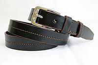 Кожаный женский ремень 25 мм чорный с коричневой ниткой коричневыми краями пряжка серебрянная со стразами