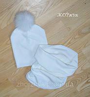 Зимний женский набор шапка и хомут помпон натуральный кролик