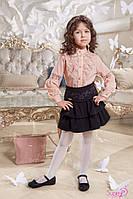 Красивая нежная блуза на девочку Линсей Цвет пудра Размеры 116, 122 116