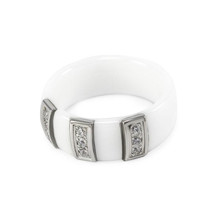 Кольцо керамическое с тремя вставками белое Арт. RN012CR (16)