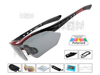 Спортивные очки RockBros ORIGINAL Polarized 5 линз Цвет: Красный