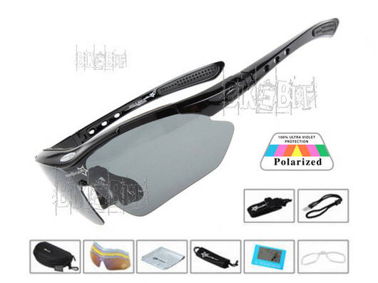 Спортивные очки RockBros ORIGINAL Polarized 5 линз Цвет: Черный