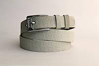 Кожаный женский ремень 25 мм светло-оливковый пряжка серебрянная
