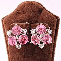 Серьги классические с розовыми кристаллами