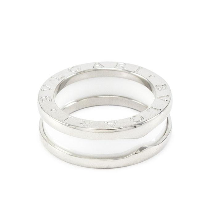 Кольцо керамическое в стиле Bulgari серебристое Арт. RN017CR (19)