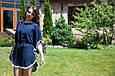 """Комплект шифоновых пончо """"Шарм"""",  взрослое и детское, темно-синий, фото 4"""