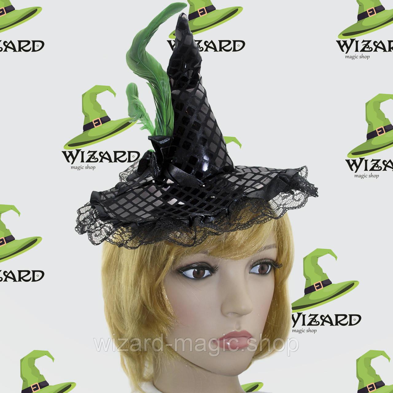Шляпка на ободке Ведьмочки с кружевом (зеленая)
