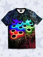 """Детская яркая футболка с 3D изображением популярной игрушки """"Спиннеры"""". Детская футболка Спиннер/Spinner."""