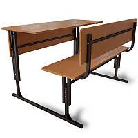 Школьная парта 2-х местная регулируемая по высоте с закрытой передней панелью. Школьная мебель.