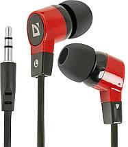Навушники Defender Basic-619 чорно-червоні, вакуумні, дротові для телефону, навушники дефендер, фото 3