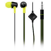 Наушники Sven SEB-190M Black/Green, Mini jack (3.5 мм) 4pin, вакуумные, микрофон на проводе, кабель 1.2 м
