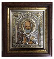 Святой Николай Чудотворец в славянском (русском) стиле икона прямоугольная под стеклом серебряная 233 х 257 мм
