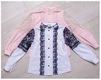 Блуза школьная нарядная на девочку Глори Размеры 116- 140 Бело-синяя