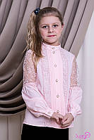 Блуза школьная нарядная на девочку Глори Размеры 146, 152 Пудра