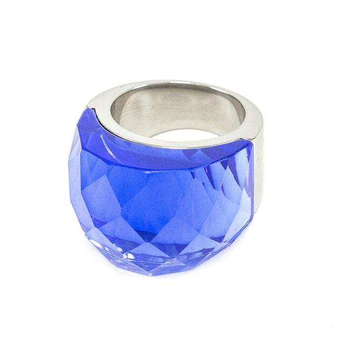 Кольцо крупное с синим камнем Арт. RN057SL (18)
