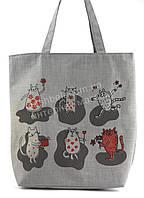 Легкая льняная пляжная женская сумка art. Лён (100103)
