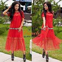 Платье им Enneli Размер S M L Ткань армани шёлк низ, верх сетка Цвет целый , красный , белый.