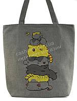 Легкая льняная пляжная женская сумка art. Лён (100104)