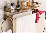 Полочка подвесная с вешалкой и кольцом в ванную 0410, фото 4