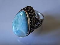 Кольцо карибский ларимар натуральный в серебре Индия