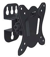"""Настенное крепление для телевизора 15-28"""" Walfix R-242B Black, VESA 100x100, до 25 кг, поворот на 60°, наклон от -3° до +15°, отступ от стены 75 мм"""