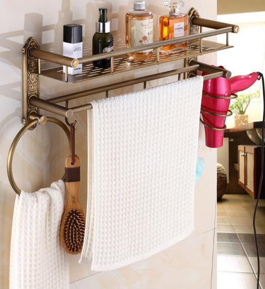 Полочка подвесная с вешалкой и кольцом в ванную 0410
