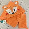 Уголок для купания оранжевого цвета с вышивкой лисички, в наборе с рукавичкой