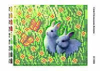 """Схема для частичной вышивки бисером 15х12 см  """"Кролики"""""""