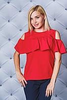 Блуза женская с рюшей красная